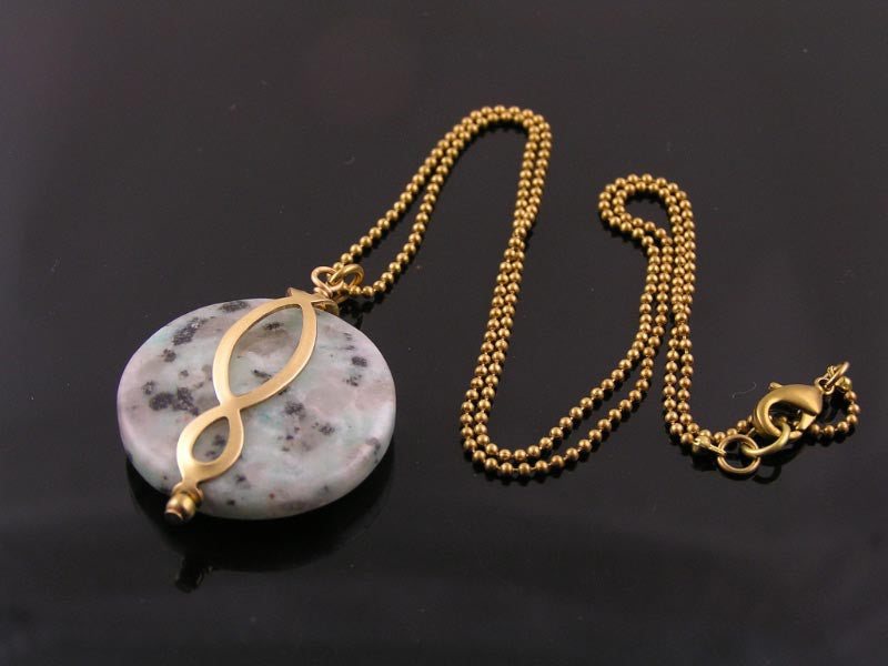 Sesame Jasper Necklace with Eternity Pendant