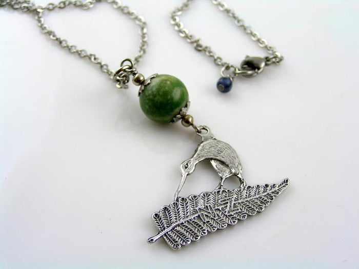 Kiwi Charm Necklace with Greenstone Bowenite