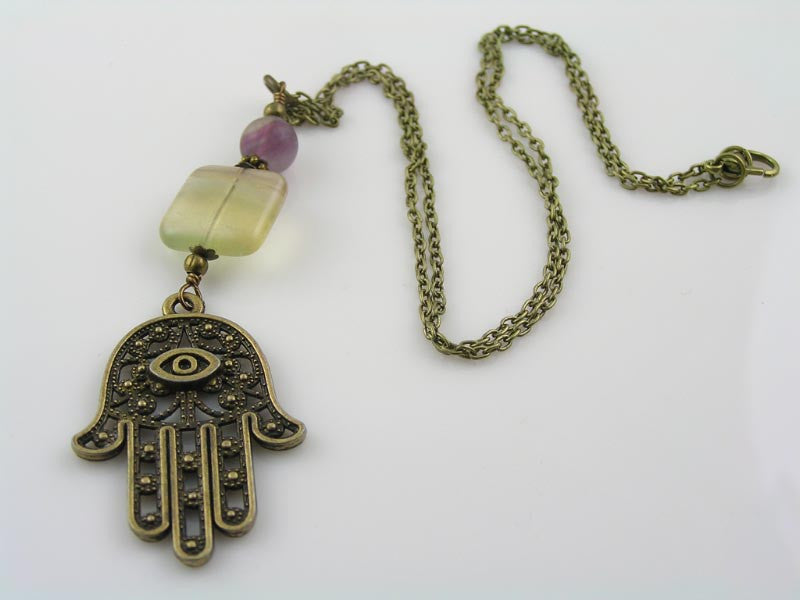 Fluorite Necklace with Hamsa Hand Pendant