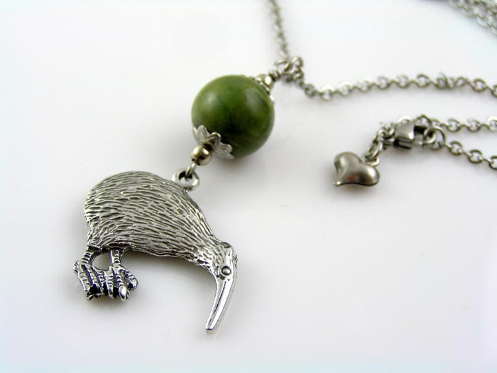 Kiwi Bird Charm Necklace with Greenstone Bowenite