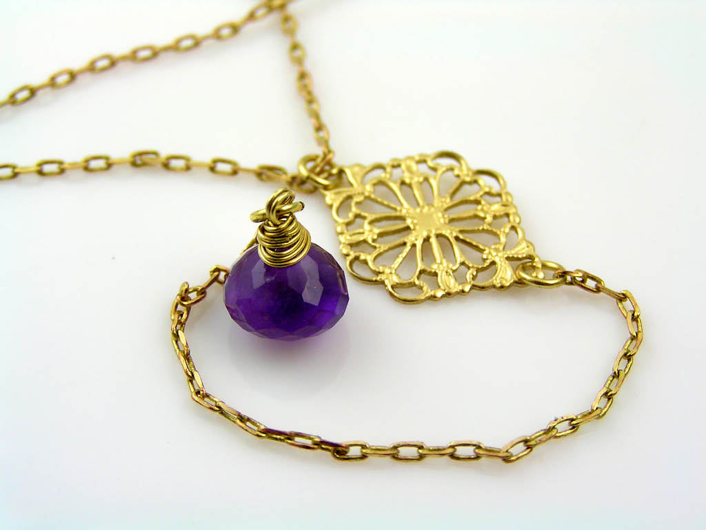 Lariat Necklace with Amethyst Drop