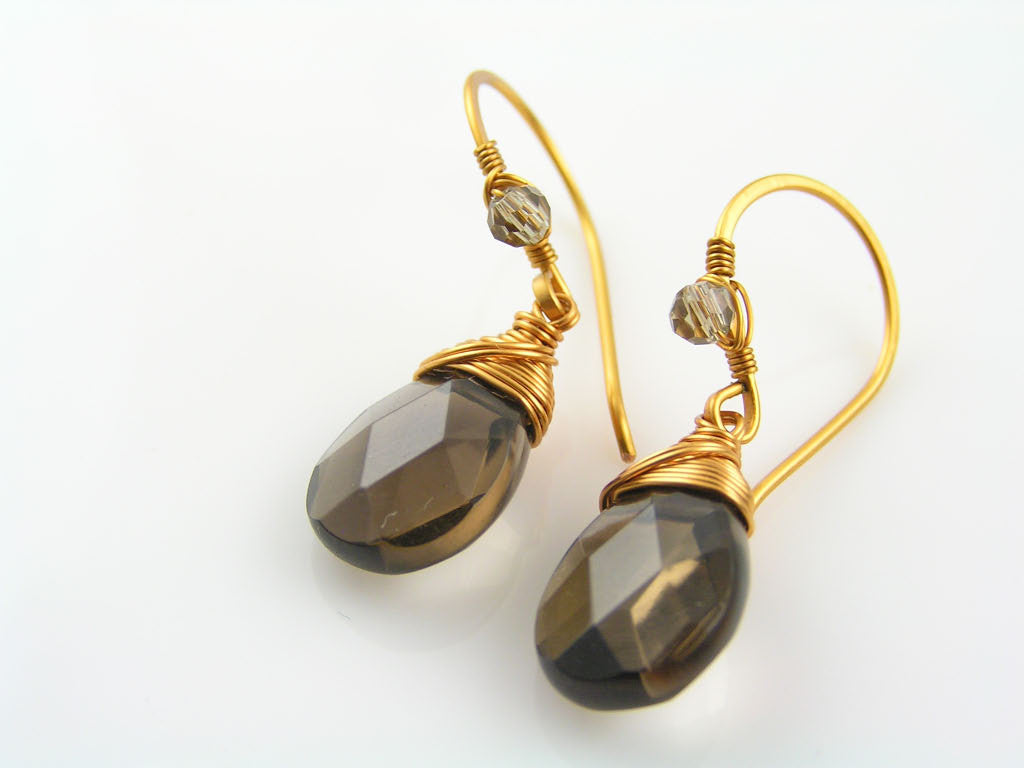 Smokey Quartz Earrings in Bronze