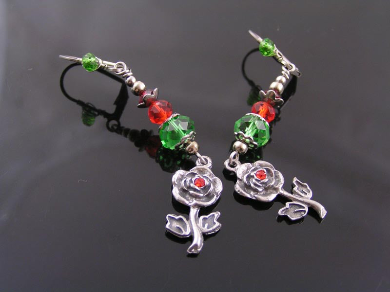 Wire Wrapped Rose Earrings with Crystals