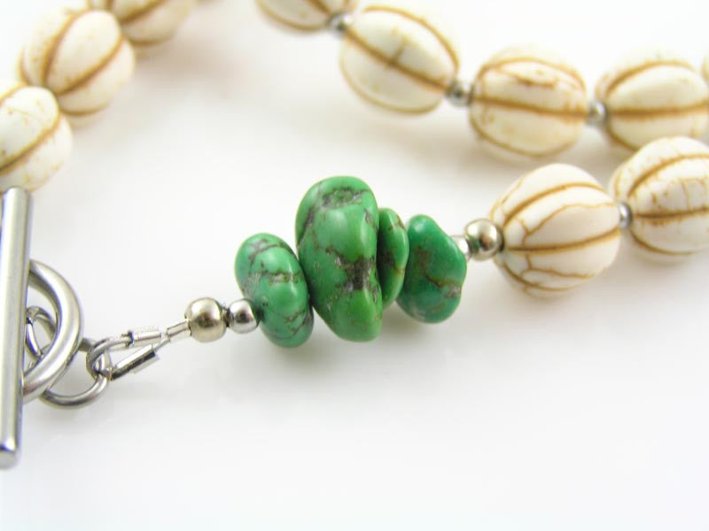 Totem Necklace with White Turquoise, Green Turquoise and Mookaite.