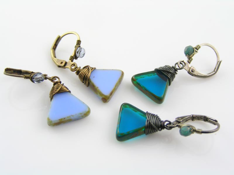 Triangle Earrings in Periwinkle Blue and Antique Bronze