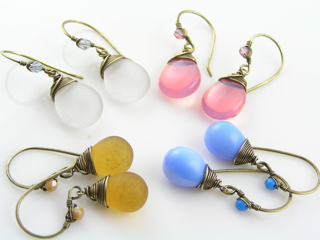 White Seaglass Earrings