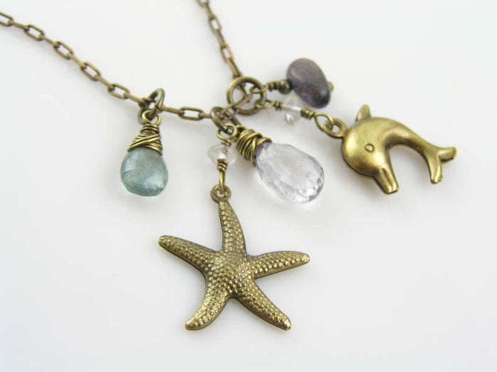 Ocean Necklace with Dolphin and Sea Star Charms, Aquamarine, Iolite, Blue Topaz and Moonstone