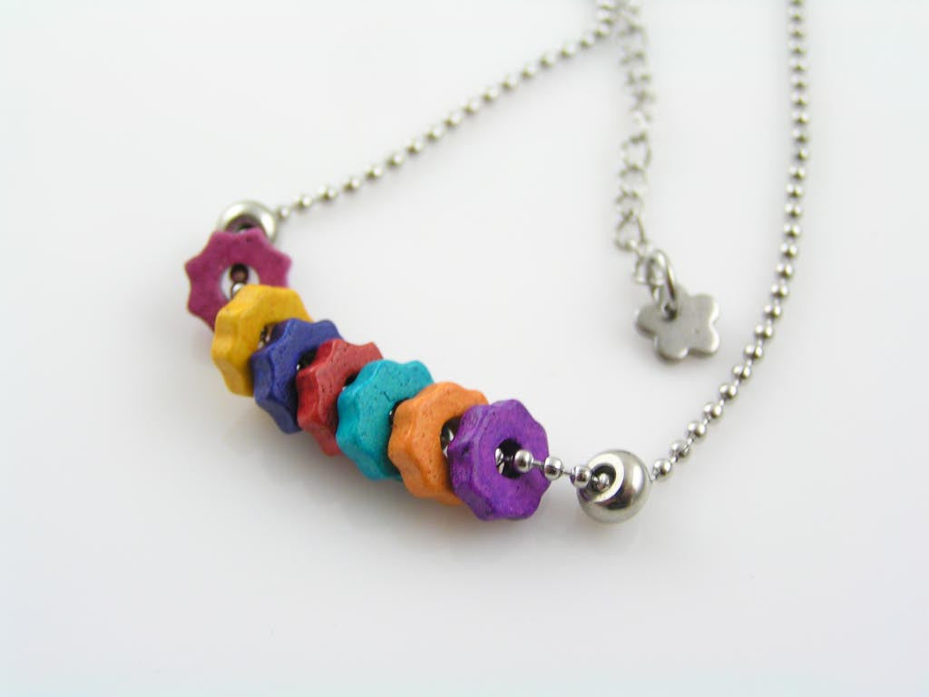 Greek Ceramic Flowers or Gear Wheels - Colourful Necklace