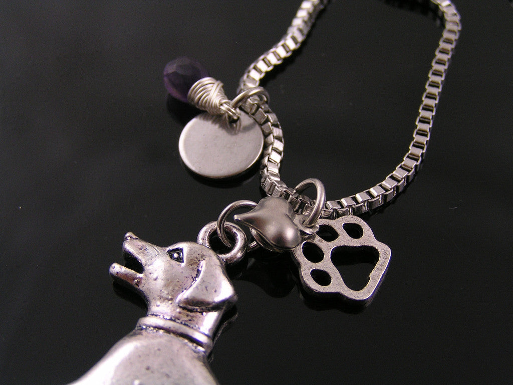 Beagle Pendant Necklace with Initial and Birthstone