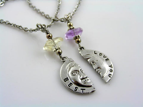 Love You Best - Matching Couple Necklaces with connecting Pendants and Gemstones