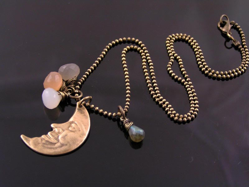 Crescent Moon Necklace with Moonstone and Labradorite