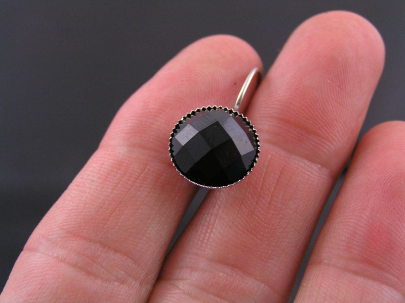 Faceted Black Cabochon Earrings