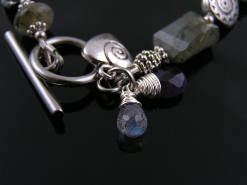 Labradorite, Moonstone and Amethyst Bracelet