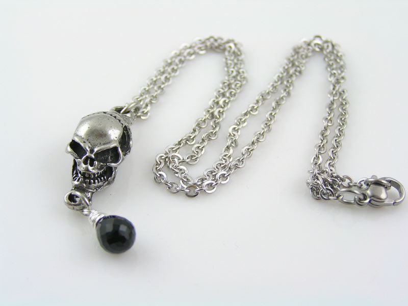 Skull Necklace with Black Spinel