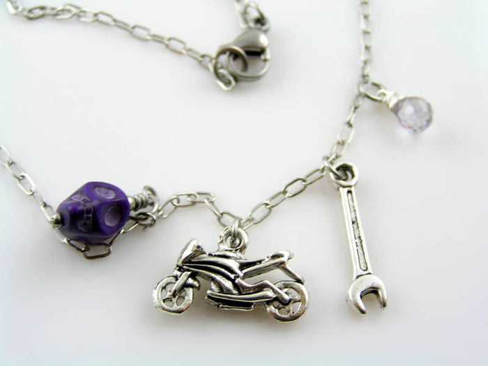 MOTORBIKE NECKLACE, SKULL, TOOL AND CUBIC ZIRCONIA