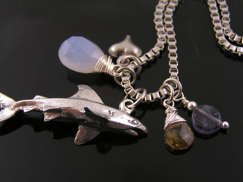 Save the Sharks, Charm Necklace with Natural Blue Chalcedony, Citrine and Iolite