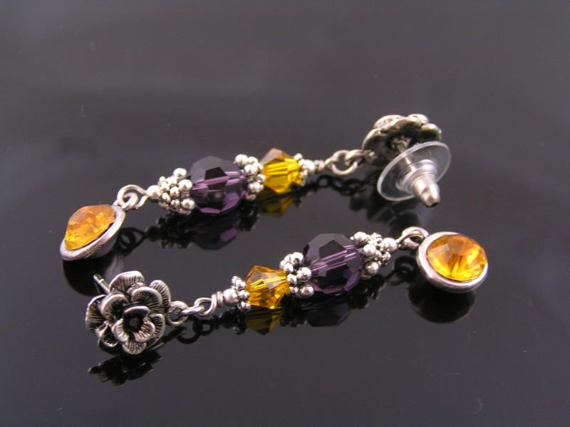 Purple and Yellow Crystal Earrings