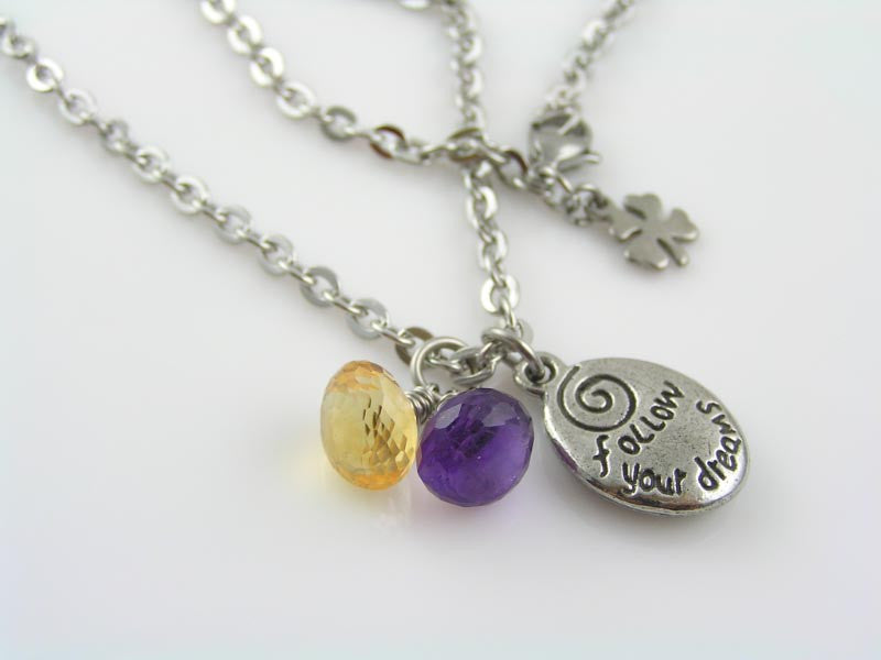 Inspirational Necklace 'Follow your Dreams' with Amethyst and Citrine
