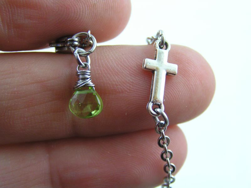 Inline Cross Necklace with Wire Wrapped Birthstone, Peridot