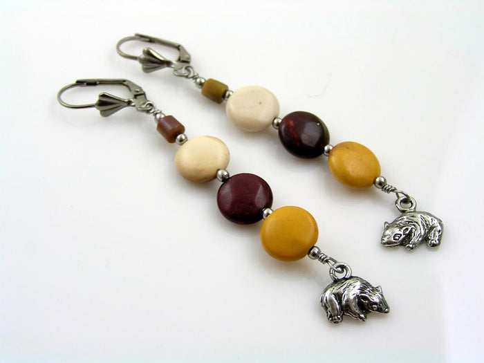 Mookaite Earrings with Wombat Charms