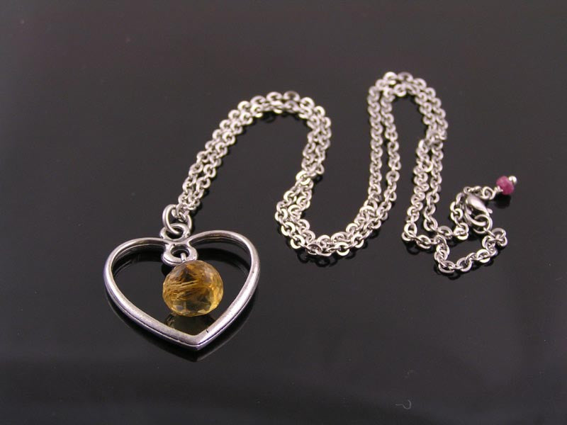 Citrine Necklace with Heart Pendant