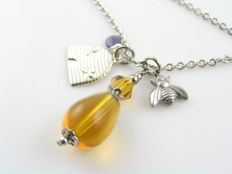 Bee Charm, Bee Hive and Honey Drop Necklace
