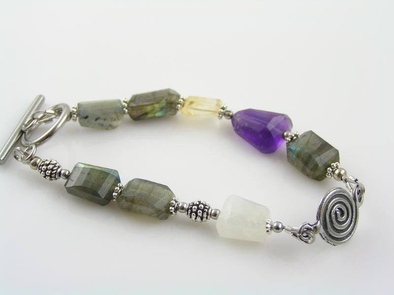 Gemstone Spiral Bracelet, Labradorite, Moonstone, Amethyst and Citrine