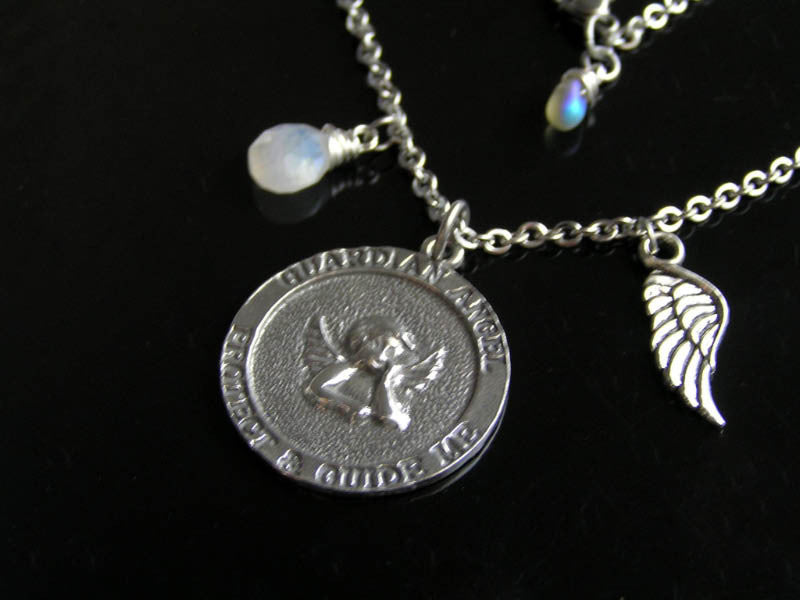 Guardian Angel Necklace with Birthstone and Angel Wing Charm
