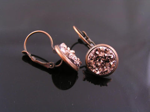 Antique Copper Druzy Earrings