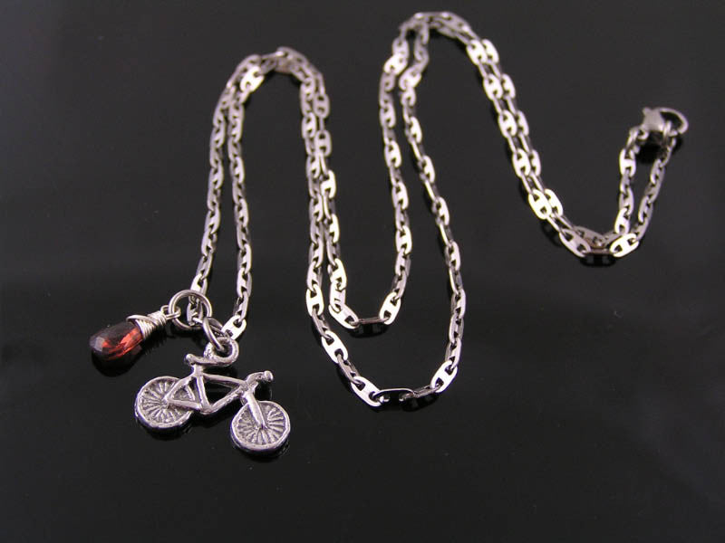 Bicycle Charm Necklace with Moonstone and Labradorite