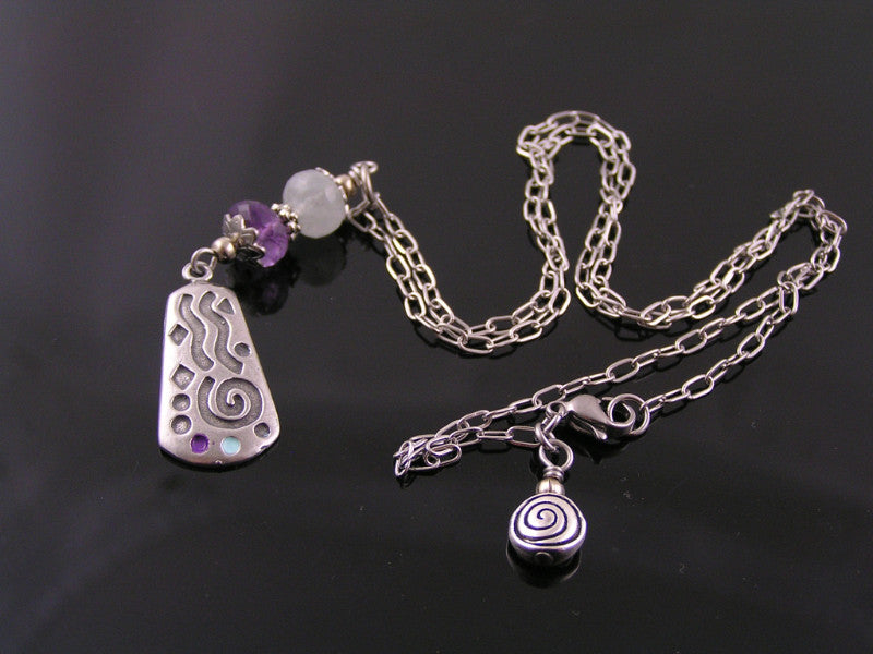 Amethyst and Aquamarine Abstract Necklace