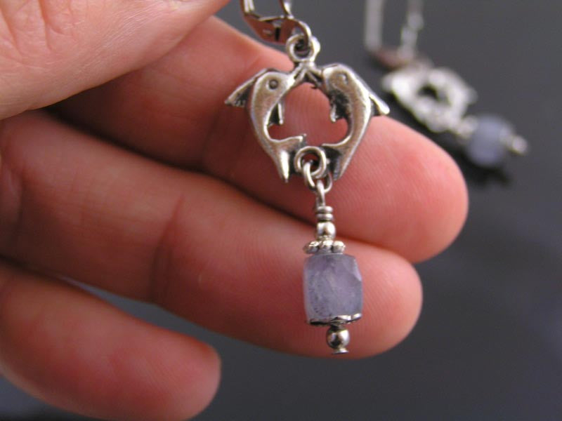 Dolphin Earrings with Iolite Cubes