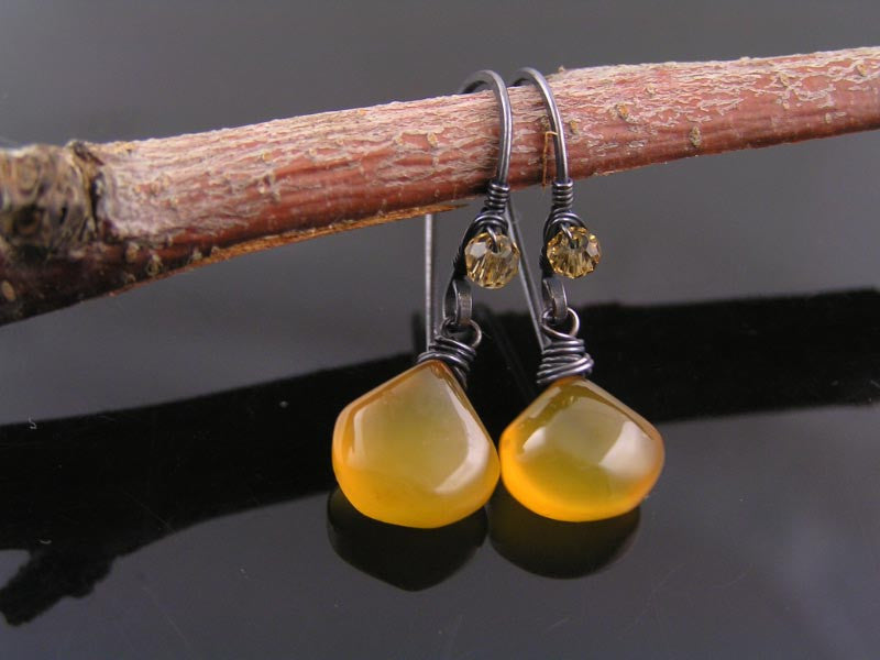 Amber Chalcedony Earrings