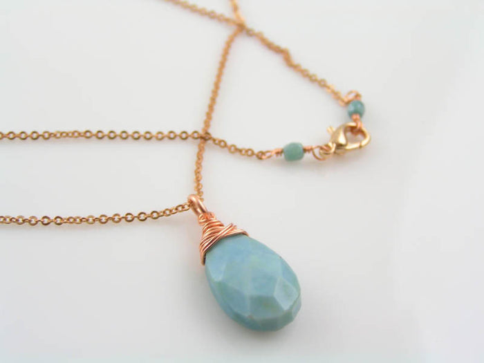 Natural, Genuine Blue Owyhee Opal Necklace