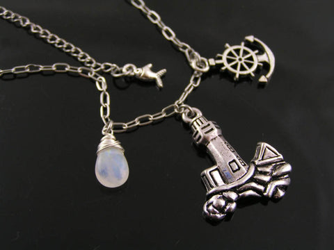 Lighthouse and Moonstone Necklace