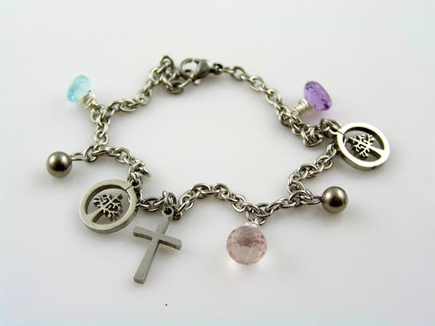 Charm Bracelet with Tree of Life, Cross Charm, Amethyst, Rose Quartz and Blue Topaz