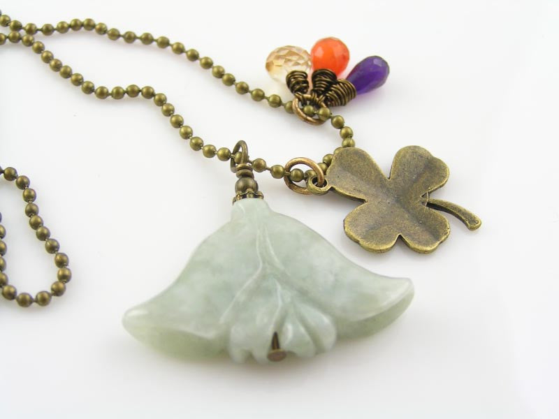 Emerald Flower, Carnelian, Amethyst and Quartz Necklace with Good Luck Charm