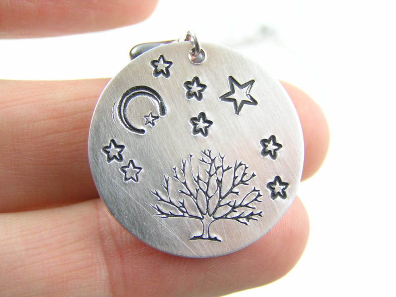 Handstamped Tree and Moon/Star Pendant with Moonstones