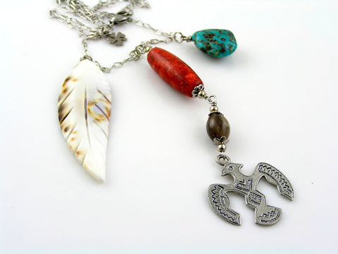 Story Necklace with Turquoise, Coral, Buffalo Horn, Totem Pendant