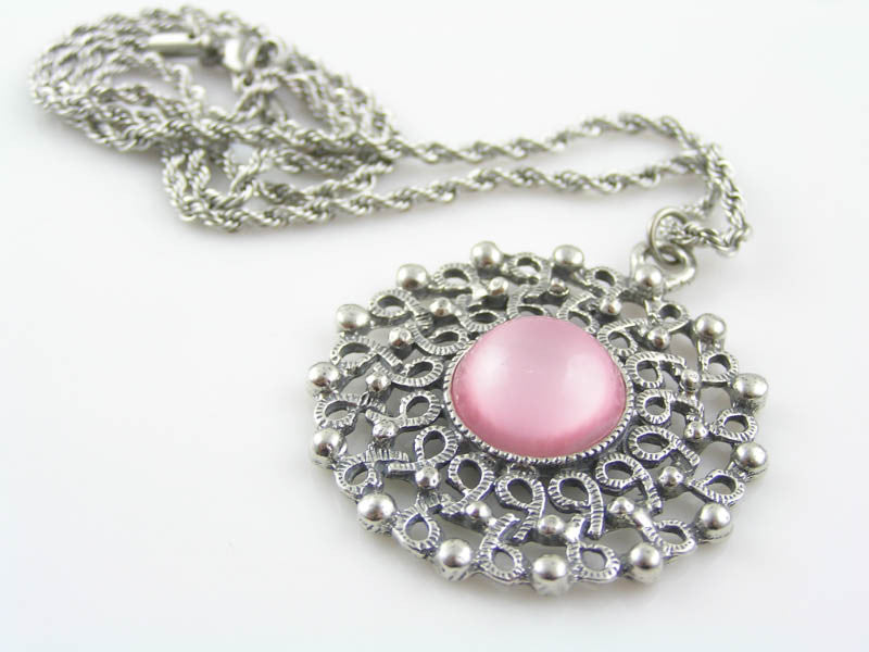 Classic Pendant Necklace with Givre Glass Inset, Vintage 1950s