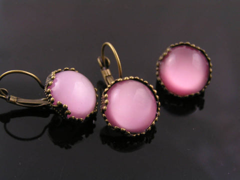 Earrings and Brooch Set with Pink Givre Glass, Original 1950s