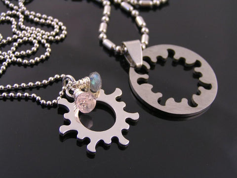 Matching Couple Necklaces, Gear Wheel Pendants