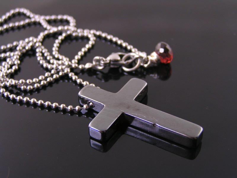 Genuine Hematite Cross Necklace, Stainless Steel