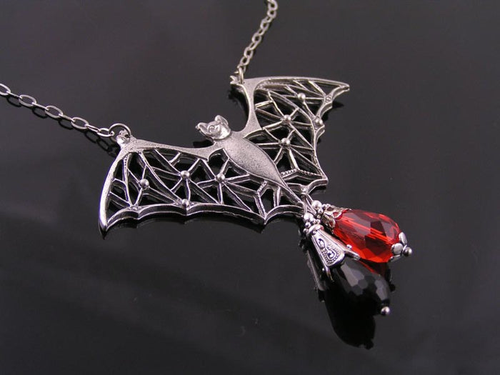 Large Filigree Bat Necklace with Black Onyx and Crystal