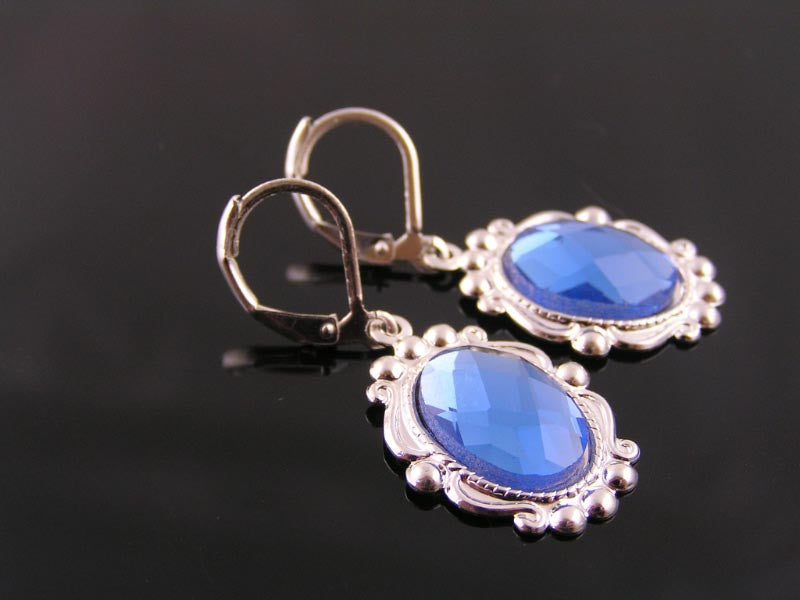 Ornate Silver and Blue Earrings
