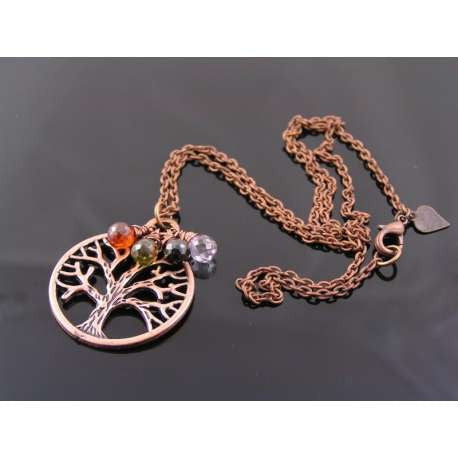 Tree of Life Necklace in Antique Copper with Genuine Cubic Zirconia Drops