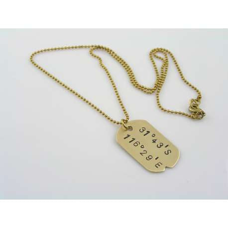 Handmade Solid Brass Necklace with Geographic Coordinates of Your Choice