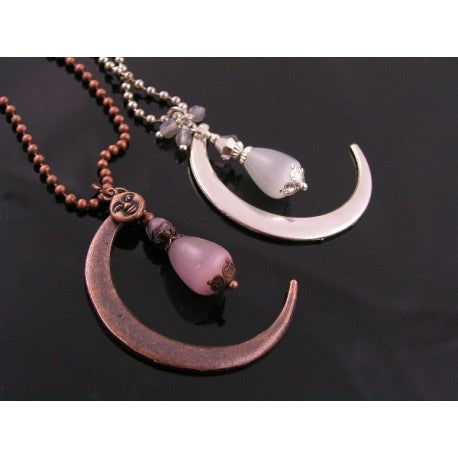 Large Copper Crescent Moon Necklace with Pink Cats Eye Drop