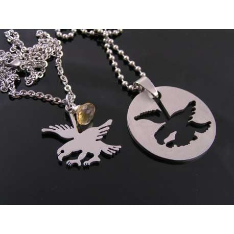 Matching Couple Necklaces, Eagle and Pendant, Boyfriend Girlfriend Jewelry