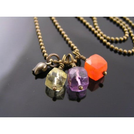 Gemstone Cubes Necklace, Carnelian, Amethyst, Lemon Quartz on Ball Chain